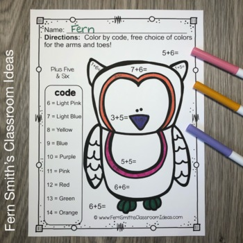 Color By Numbers Funky Owls Addition