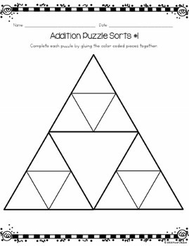 3 and 4 Digit Addition Puzzle Sorts