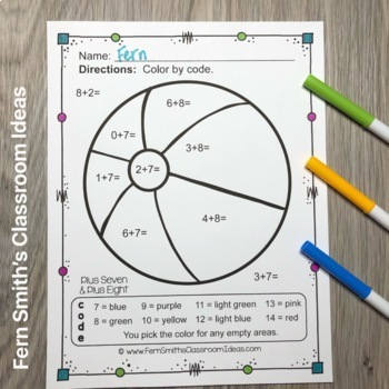 Color By Numbers Vacation Fun Math Addition