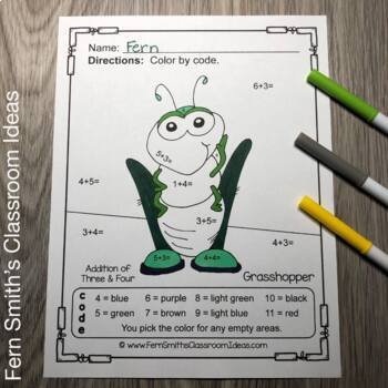 Color By Numbers Spring Bug Fun Addition