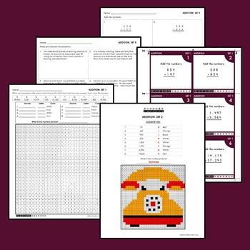 Addition Worksheets, Mystery Pictures