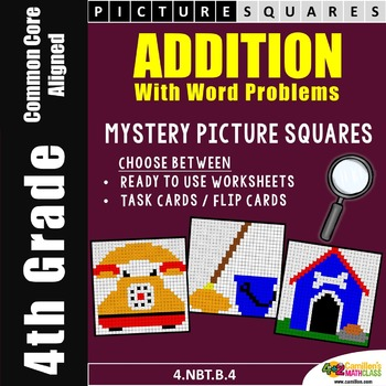 4th Grade Addition Practice, Mystery Pictures Coloring Sheets