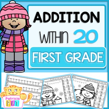 Addition to 20 Color by Code Practice Worksheet Winter