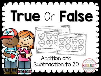 Valentine Addition and Subtraction Activities and No Prep Printables