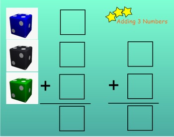 Addition~ 3 Addends Worksheets and SMART Notebook File