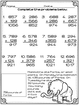 Regrouping Addition 3 Digit Worksheets: Ice Age Theme
