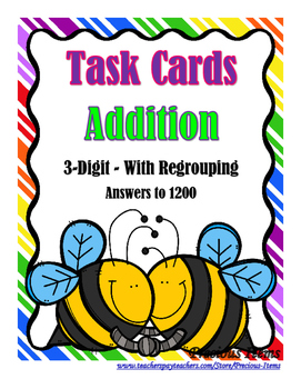 Addition 3-Digit With Regrouping Task Cards