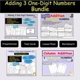 Addition 3 One/Single Digit Equations, Missing Addends, Task Cards BUNDLE