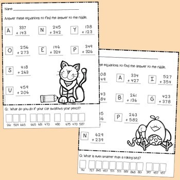 Addition Riddles - 3 digit numbers with regrouping