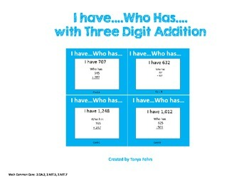Addition 3 digits I Have Who Has