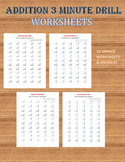 Addition 3 minute drill V (10 Math Worksheets with answers) / kidsmathzone