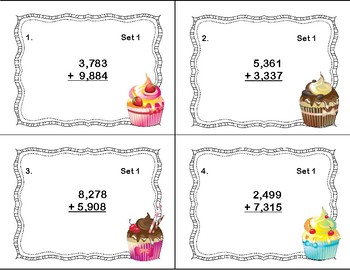 Addition 4 Digits by 2 Addends Task Cards- Regrouping-Fun Cupcake Theme