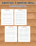 Addition 5 minute Drill/Test V (10 Math Worksheets with answers)