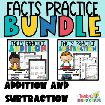 Addition AND Subtraction Facts Practice Worksheets BUNDLE - Review, Homework