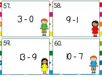 Addition AND Subtraction Facts Task Cards BUNDLE zero through twenty SCOOT