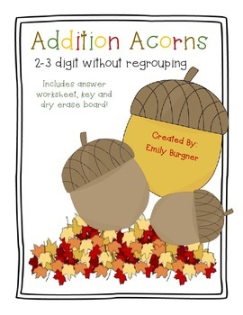 Addition Acorns - 2 & 3 Digit without Regrouping