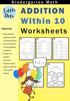 Kindergarten Math - Addition within 10 Workbook