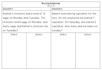 Addition Activities Missing Addends up to 30