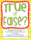Addition Activities - True or False Sort