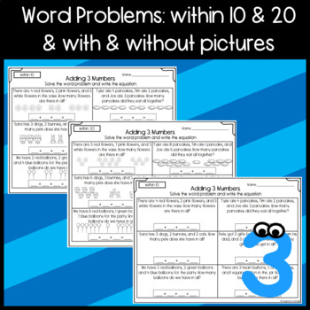 Addition: Adding 3 Numbers: Game, Cut and Paste, Worksheet, Center Activity