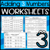 Adding 3 Numbers: Games,  Worksheets, Center Activities, Using a number Line