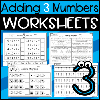 Addition: Adding 3 Numbers: Game, Cut and Paste, Worksheet