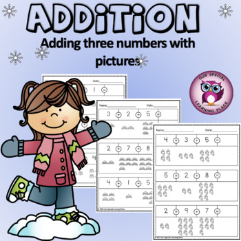 Addition - Adding 3 Numbers {with pictures}