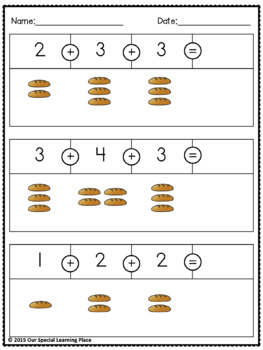Addition - Adding 3 Numbers {sums up to 10}