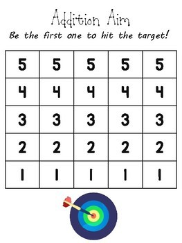 Addition Aim-  Mental Math Addition Game