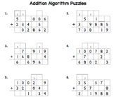 Addition Algorithm Practice Puzzles