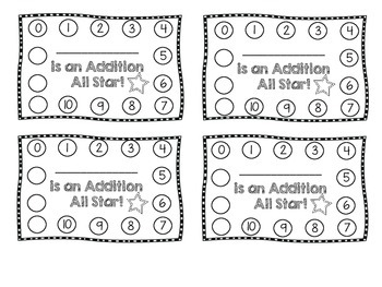 Addition All Star Punch Card