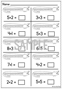 Addition Activity Cards Alligator Add