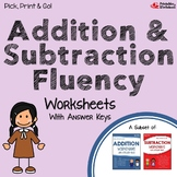 Adding And Subtracting Fluency Worksheets For Review And Practice