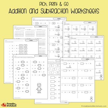 Addition And Subtraction Homework Worksheets