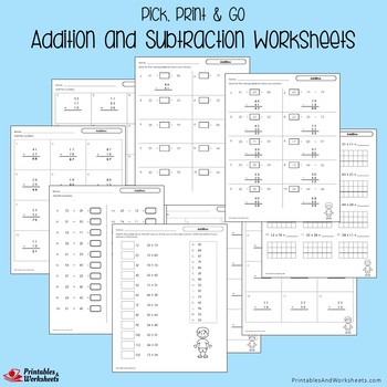 Addition And Subtraction Practice Test Worksheets