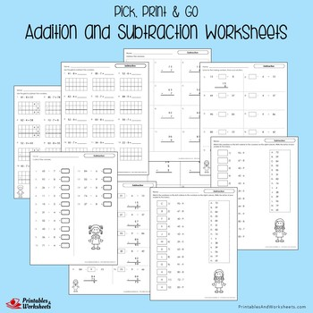 Addition And Subtraction Fluency Worksheets For Practice And Review