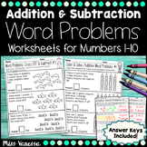 Addition And Subtraction Word Problems Worksheets for Numbers 1-10
