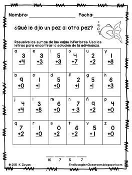 Addition Animal Riddles in Spanish