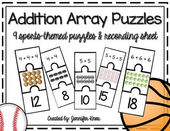 Addition Array Puzzles {Sports-Themed}