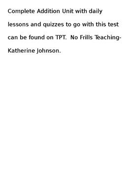 Addition Assessment- 3rd Grade