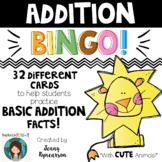 Addition BINGO! 32 different cards... with CUTE ANIMALS!