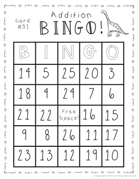 Addition BINGO! 32 different cards... with CUTE DINOSAURS!