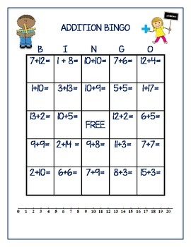 photograph relating to Addition Bingo Printable referred to as Addition Bingo Worksheets Instruction Supplies TpT