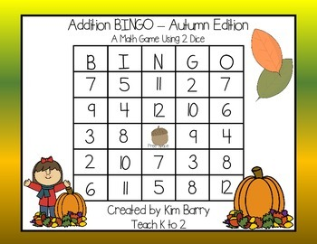 Addition BINGO With 2 Dice - Autumn Edition