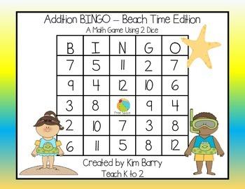 Addition BINGO With 2 Dice - Beach Time Edition