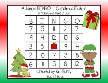Addition BINGO With 2 Dice - Christmas Edition