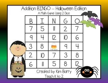 Addition BINGO With 2 Dice - Halloween Edition