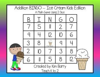 Addition BINGO With 2 Dice - Ice Cream Kids Edition