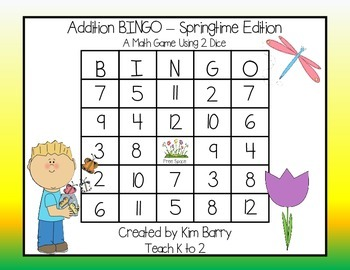 Addition BINGO With 2 Dice - Springtime Edition