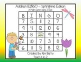 Addition BINGO With 2 Dice - Springtime Edition